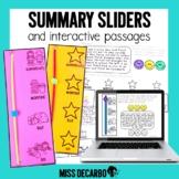 Summary Sliders Reading Passages