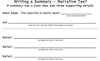 Summary Stems/Graphic Organizers for Expository & Narrative Texts