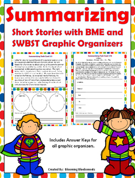 Summary Task Cards - Summarizing Task Cards -  Stories with Graphic Organizers