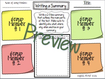 Summary/Summarizing-Collaborative, Group Activity with Sticky Notes