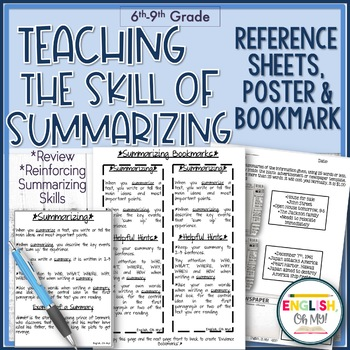 Summarizing-Reference Sheet, Bookmark, Learning Target