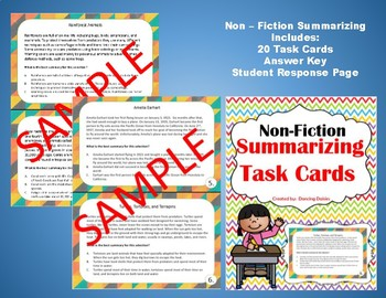 Summary - Summarizing - Sensory Language - Figurative Language-Task Cards Bundle