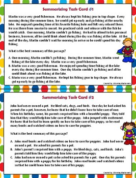 Summary Task Cards - Summarizing Task Cards - and Graphic Organizer BUNDLE