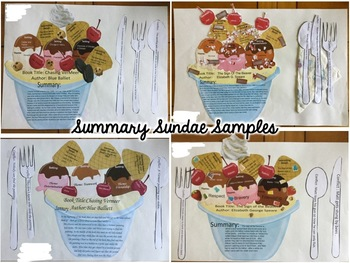 Summary Sundae Bundle with Grading Rubric (Use in Google Slides or Powerpoint)