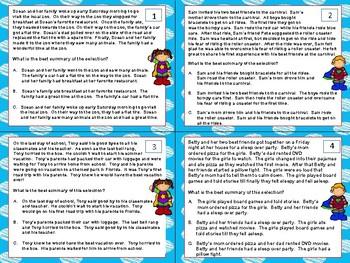 Summary Task Cards - Summarizing Task Cards