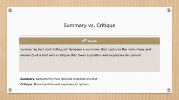Summary Vs. Critique PPT