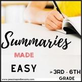 Summarizing Passages | Summary Graphic Organizer | Summarizing Worksheets