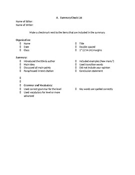 Summary Writing Draft Checklist