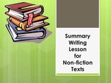 Summary Writing  Lesson for a Non-fiction Text