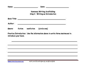 Summary Writing Scaffolding Organizer with Blank Book Printable