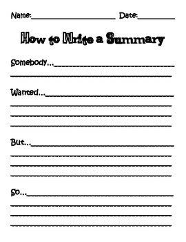 Summary Writing-Somebody, Wanted, But, So