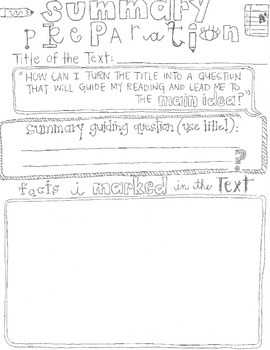 Summary Writing-Summary Preparation and Construction Graphic Organizers