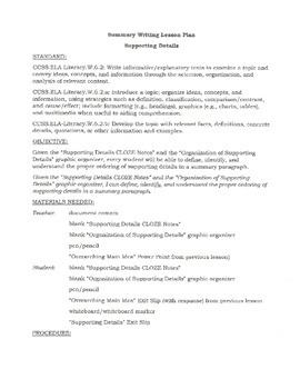 Summary Writing-Supporting Details CLOZE Notes and Graphic Organizer