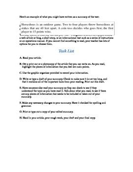 Summary Writing Task