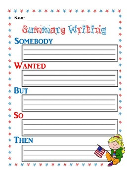 Summary Writing Templates - 4th of July Themed