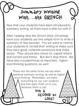 Summary Writing with the Grinch!