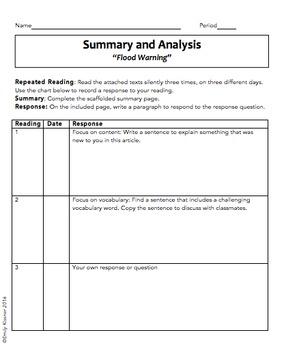 Summary and Analysis: Flood Warning