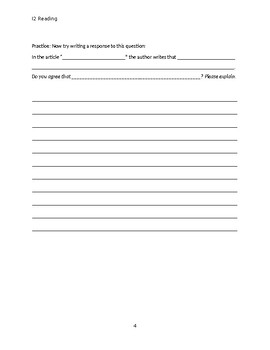 Summary and Response Writing Packet