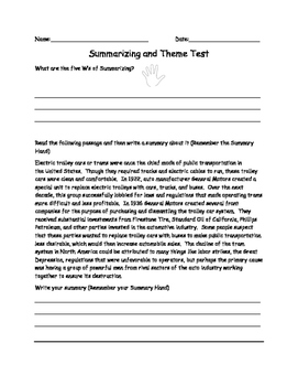 Summary and Theme Test