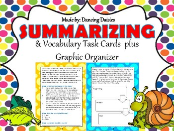 Summary Task Cards / Summarizing Task Cards - Vocabulary Task Cards