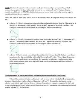 Summary of Correlation and Simple Linear Regression