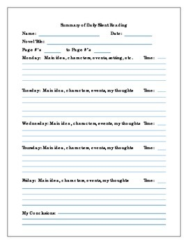 Summary of Daily Silent Reading Log