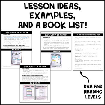 Summary of Fiction - Reading Interactive Notebook
