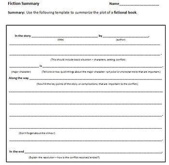 Summary Of Fiction Template By Heather Fleming TpT - Fiction summary template