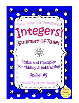 math worksheet : summary of rules for adding and subtracting integers by dawn designs : Add Subtract Integers Worksheet