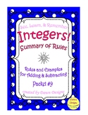 Summary of Rules for Adding and Subtracting Integers