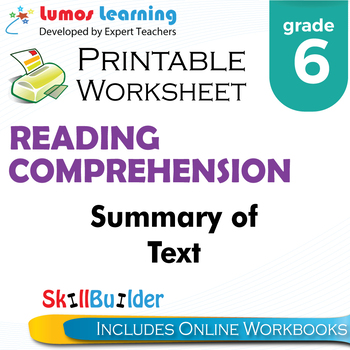 Summary of Text Printable Worksheet, Grade 6