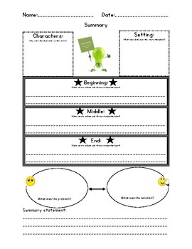 Summary of a Fiction Story Graphic Organizer