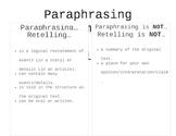 Summary, paraphrasing, retelling classroom poster