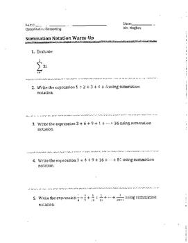 Summation Notation Warm Up Problems
