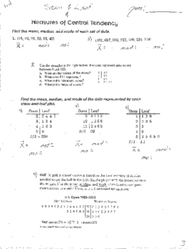Summation Sigma Notation Infinite Geometric Series Measures of Central Tendancy