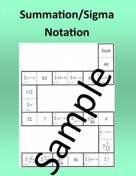 Summation Sigma Notation – Math domino puzzle