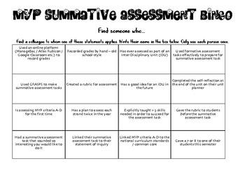Summative Assessment Bingo