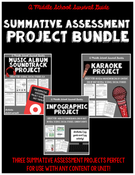 Summative Assessment Project Bundle for Middle Grades