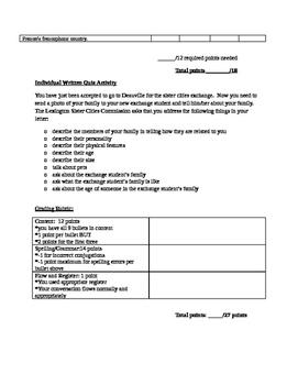 Summative Beginner French Assessment - Family