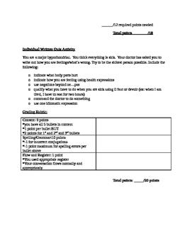 Summative Beginner French Assessment - wellness