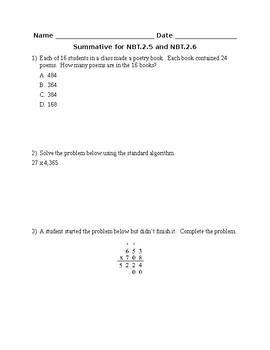 Summative for NBT.2.5 and NBT.2.6