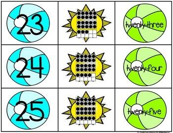 Summer 0-25 Number, Ten Frame & Number Word Match