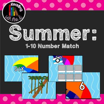 Summer 1-10 Number Match Card Game