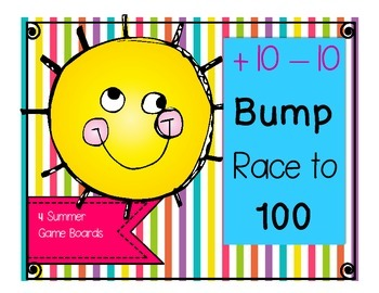 Summer addition and subtraction game boards- Bump & Race to 100