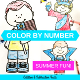 Summer Color by Number Addition & Subtraction Facts Coloring Pages
