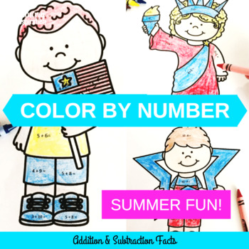 Summer Color by Number Math Facts Review and Practice K-2
