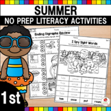 Summer 1st Grade No Prep Language Arts Worksheets