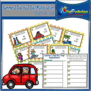 Summer 2 Digit By 2 Digit Multiplication Task Cards With Response Sheet
