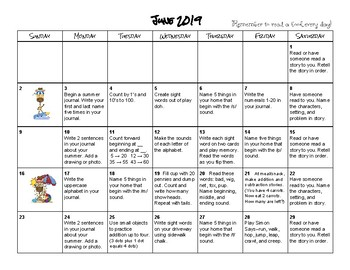 Summer 2016 Activity Calendars for Incoming 1st Graders