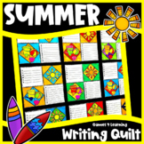 Summer Writing Prompts Quilt for a Bulletin Board Display: End of Year Activity